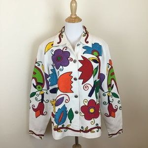 COLDWATER CREEK Women's Colorful White Jacket M